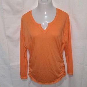 LANE BRYANT Orange Ruched Knit Casual Top 14/16 1X